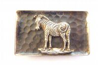 Vintage Silver Plated African Zebra Brooch By Simba.